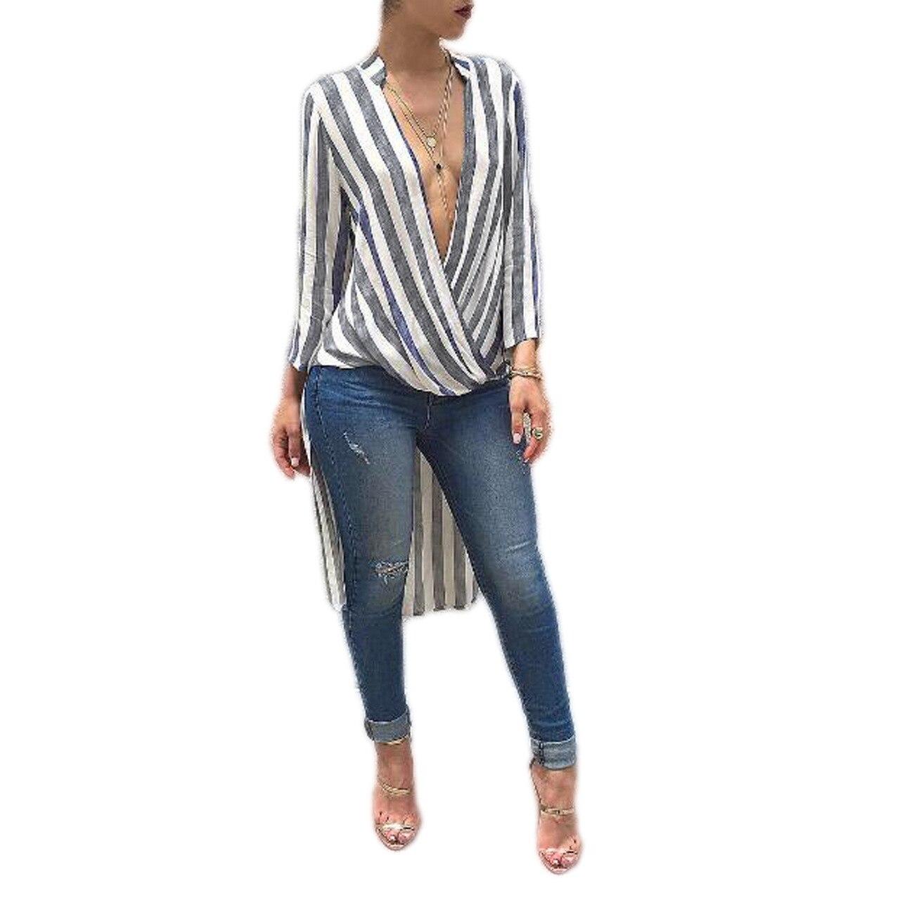 Echoine V Cuello Blusas de Rayas de Impresión Nuevas Mujeres Sexy Asimétrico Del
