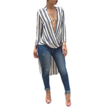 Echoine V Neck Striped Print Blouses New Summer Women Sexy Asymmetrical Front Short And Back Long Shirts Tops Camisa Feminina