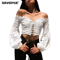 Boho Women Tops And Blouse Sexy Backless Black White Beach Lace Shirts Summer Lantern Sleeve Off
