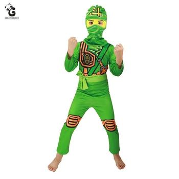 Boys Ninjago Costume Kids Cosplay Jumpsuits Ninja Costumes Halloween Costume for Kids Fancy Party Dress Girls Ninja Party Suit