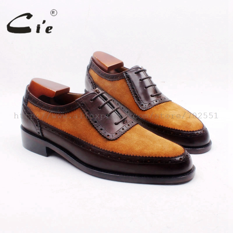 cie Custom Handmade Round Toe Brown Suede Matching Genuine Calf LeatherDark Brown Men s Oxford Shoe