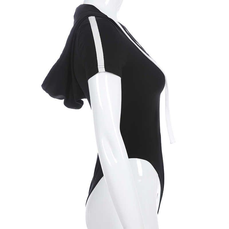 Свитшот черный короткий рукав облегающий костюм Одежда для активного отдыха Лоскутная молния контрастный цвет шнурок Толстовка боди Женская Топ рубашка