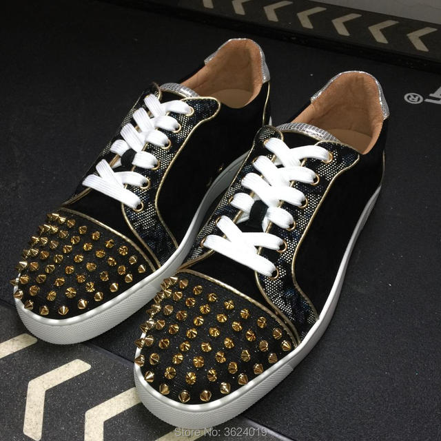 3db1009ef879 Newest clandgz Black Mixed colors Rivets High quality Red bottom Sneakers  shoes Leather Loafers 2018 Men shoes Footwear Spring