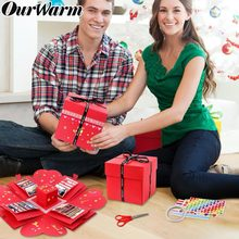 OurWarm DIY Surprise Love Explosion Box Photo Album for Valentine's Day Red Wedding Gift Box Kraft Paper Surprise Box(China)