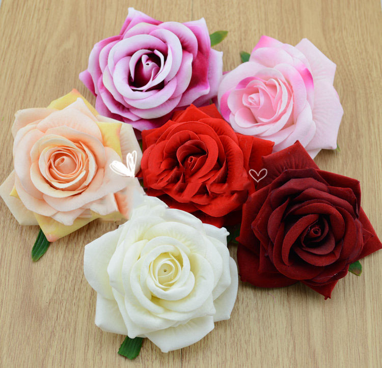 Large Flannel Curling Simulation Roses Wholesale Silk Flower Artificial Bouquets Wedding Shoes Hat Decorative
