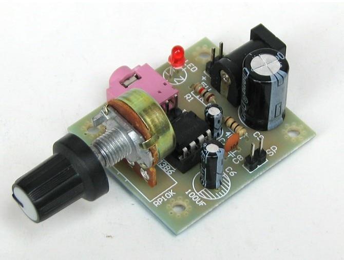 Freeshipping Lm386 mini amplifier board (it need weld by yourself) lson mini amplifier module board red