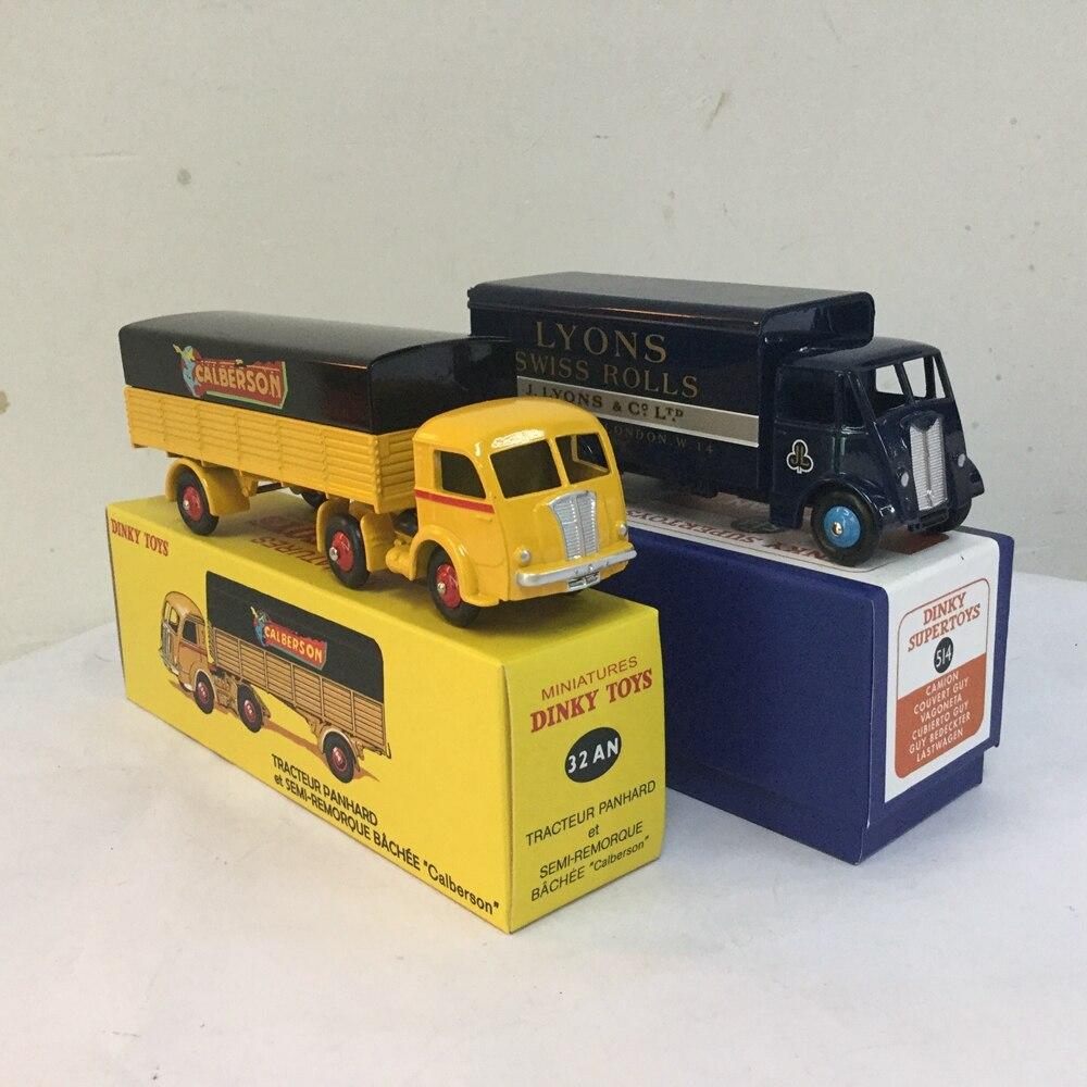 DEFECT 2PCS Atlas USED DINKY TOYS 32AN REMORQUE&SUPERTOYS 514 GUY VAN DIECAST Car Model Alloy Diecast model & Toys