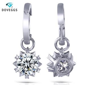 DovEggs 14K 585 White Gold 2CTW 6.5mm F Color Moissanite Diamond Drop Earrings for Women Wedding Gift Moissanite Ladies Earrings