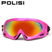 Polisi gafas de esquí de la nieve del invierno niños de los niños uv400 esqui snowboard deportes gafas niños niñas anti-vaho gafas de esquí patineta