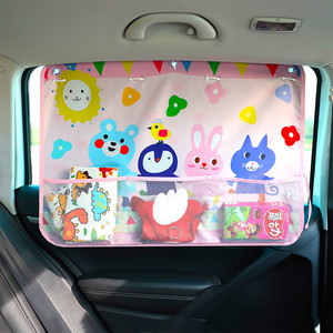 Image 3 - Universal Car Side Window Sunshade Curtain Summer Adjustable Sunscreen Baby Sun Shade Solar With Storage Net
