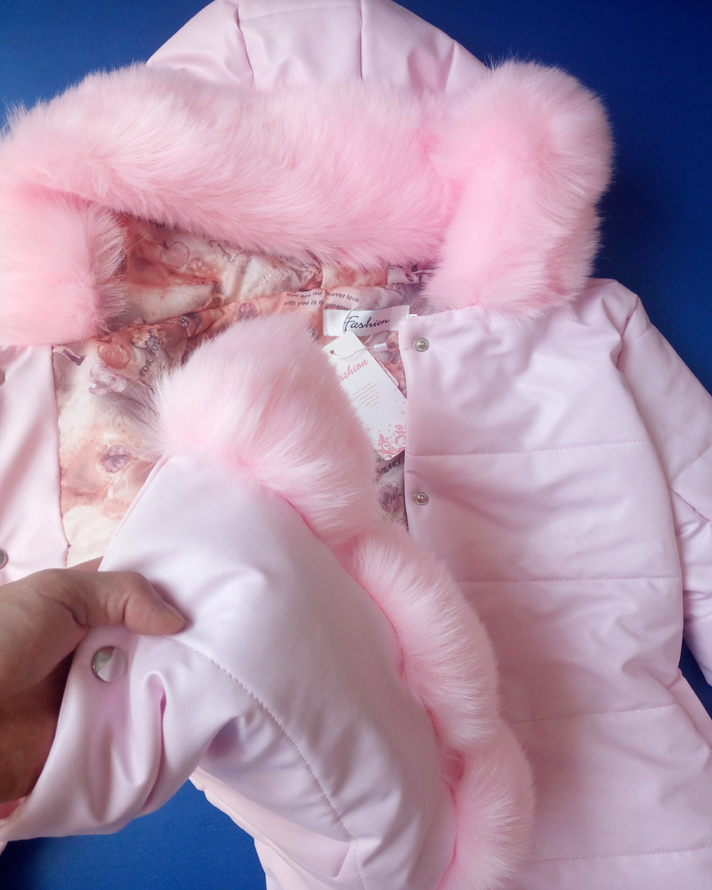 Kids Girl's PU Leather Patchwork Fox Faux Fur Collar Jacket Coat Down Parkas Thicken Coat Princess Winter Outerwear Fur Coat J97
