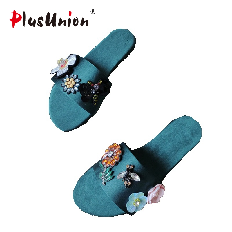 plusunion Green Rhinestone Flower Rubber Steps-In Sandals Shoes Women Sexy Leisure Shoe For Ladies Wholesale Freeship 36-40 standing in for lincoln green