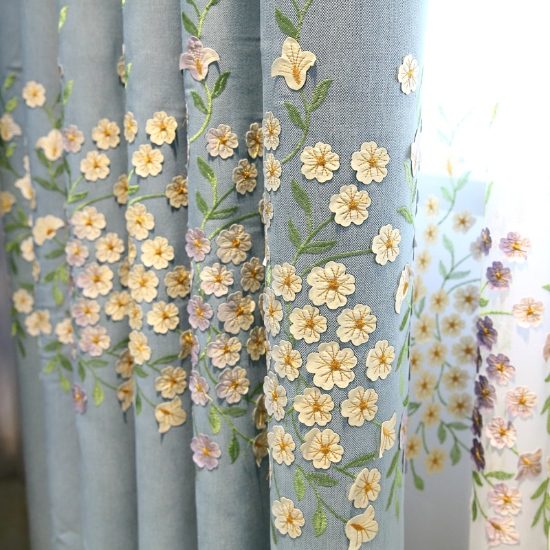 3D Embroidery Flower Curtains Tulle Blue Garden Cotton Linen Curtain for Living Room Bedroom Floor Window Shade Curtain Gauze ...