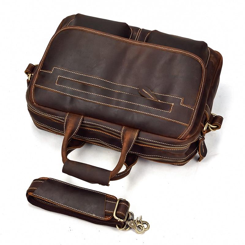 MAHEU Double Zipper Messenger Bag ไหล่กระเป๋าหนังแท้กระเป๋าถือหนังผู้ชายกระเป๋าถือชาย Crossbody กระเป๋า-ใน กระเป๋าเอกสาร จาก สัมภาระและกระเป๋า บน   2