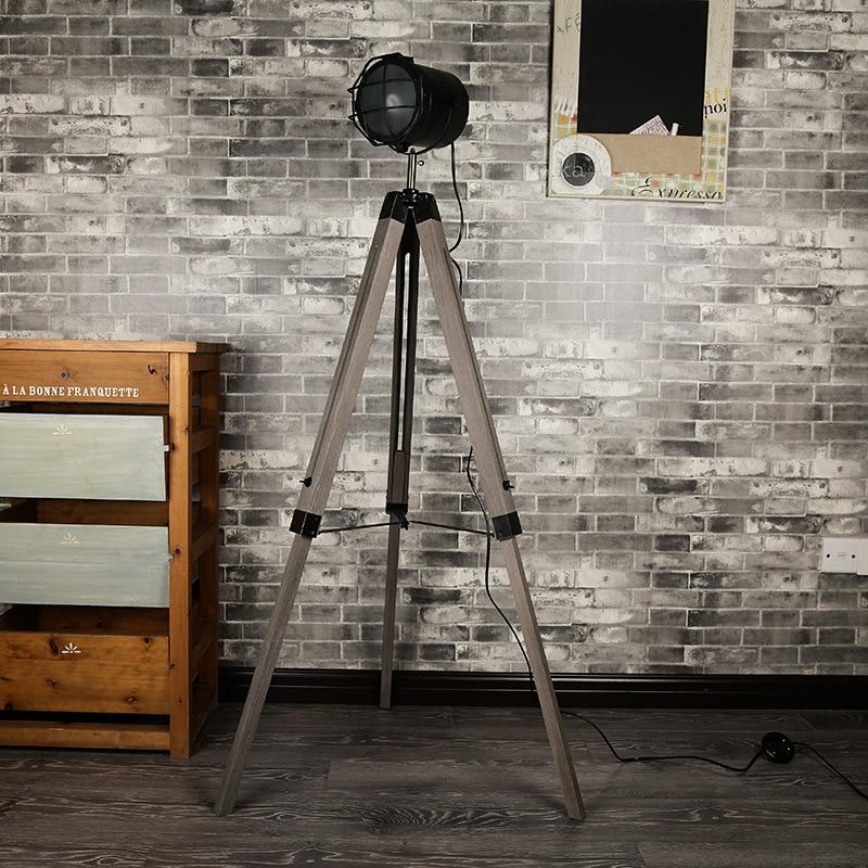 Retro Vintage Loft American Original Wood Metal Led E14 Tripod Floor Lamp For Living Room Bedroom Photo Studio Deco H 139cm 1046