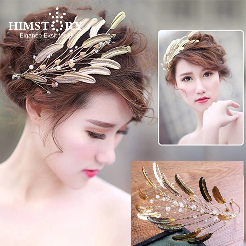 Newest Gold Leaves Baroque Wedding Hair Crown Accessories Handmade Vintage Bridal Tiara Headband Hairwear