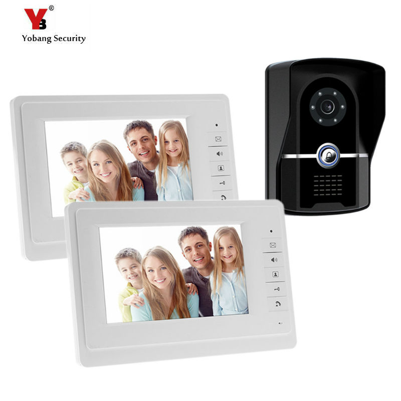 Yobang Security Freeship 7 Inch Video Door Phone Intercom System 2 Monitor Video Doorbell For Home Door Bell Video Intercom 7 inch password id card video door phone home access control system wired video intercome door bell