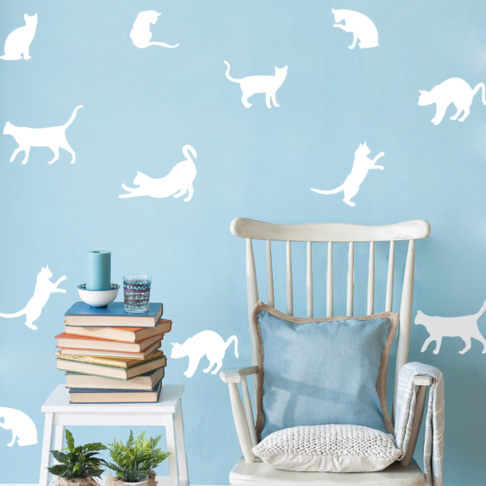 Hot Sale 9ps Cat Wall Sticker Animal Wall Stickers Home Accessories