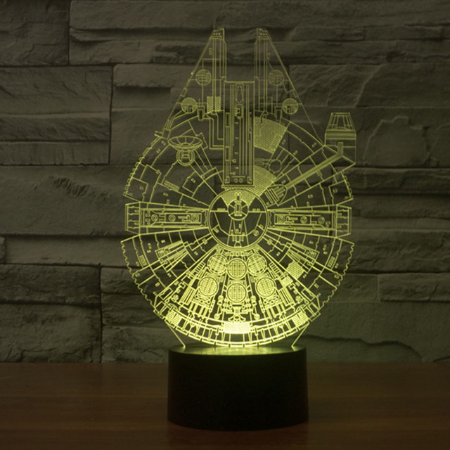 3D Bulbing Millennium Falcon Star Wars Night Light Color Changing Table Desk Lamp Veilleuse