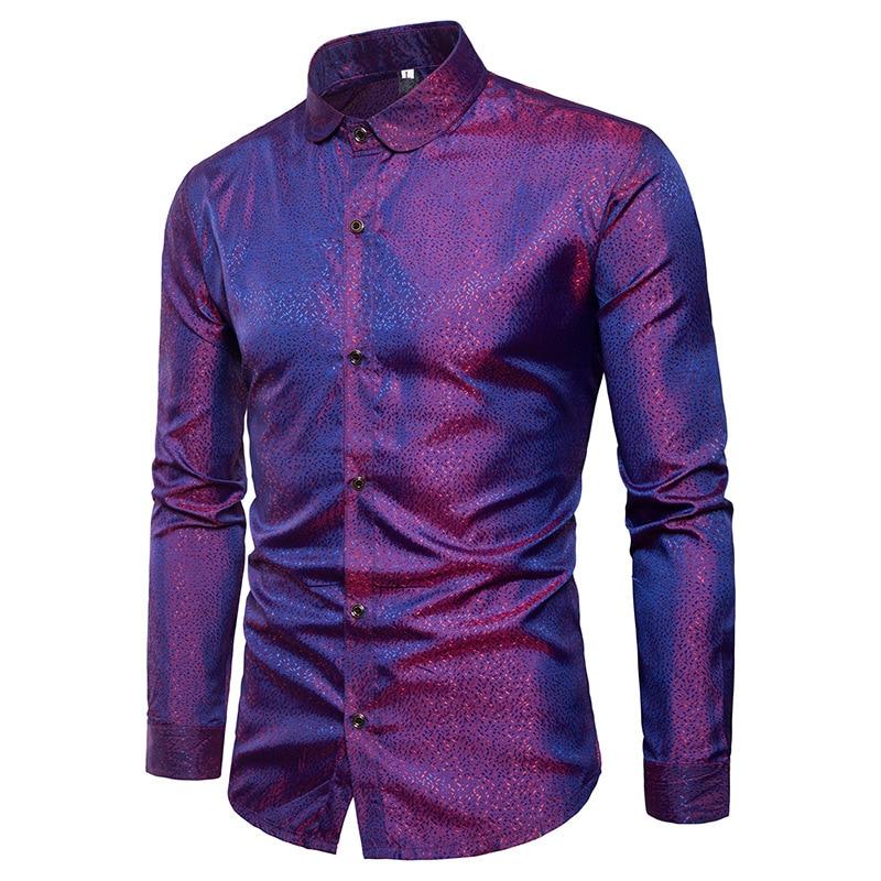 Loldeal Silk Shirt Men Satin Smooth Men Solid Tuxedo Shirt Business Chemise Homme Casual Slim Fit Shiny Gold Wedding Dress Shirt