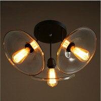 Винтаж американский бар страна гладить потолочные светильники 3 головки ясно Стекло E27 Edison лампы прихожей потолочный светильник N1190