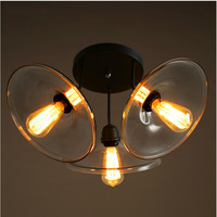 Vintage American Country bar iron ceiling lights 3 Heads Clear Glass E27 Edison bulb hallway ceiling lamp N1190