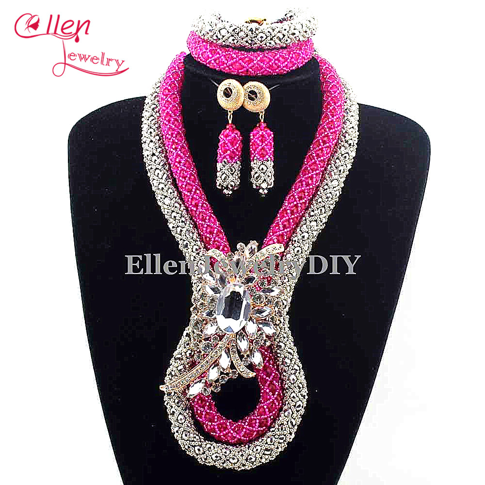 Nigerian Wedding Crystal beads Bridal Necklaces Jewelry Sets Big African beads Jewelry Sets Costume necklace E1020Nigerian Wedding Crystal beads Bridal Necklaces Jewelry Sets Big African beads Jewelry Sets Costume necklace E1020