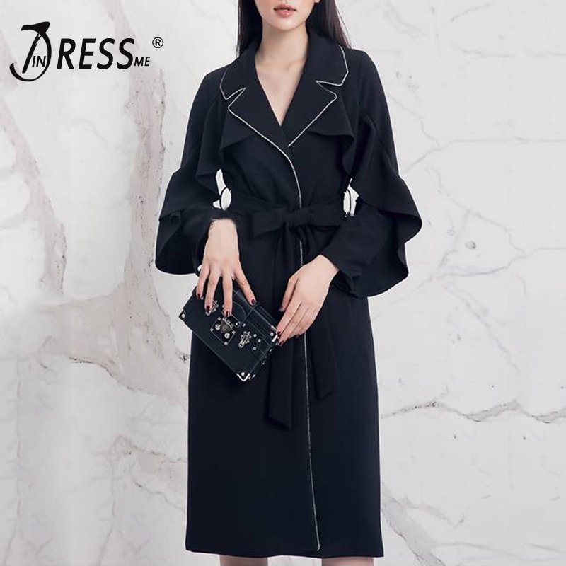 INDRESSM 2019 Women New Fashion Turn Down Collar V Neck Belt Winter Trench Sexy Solid A