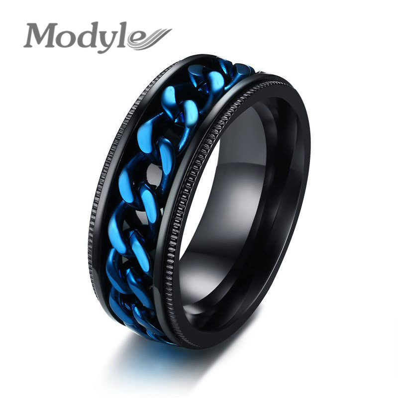 Jewelry & Accessories Dutiful Modyle 2018 Fashion Men Ring The Punk Rock Accessories Blue 316l Stainless Steel Black Chain Spinner Rings For Men With Traditional Methods