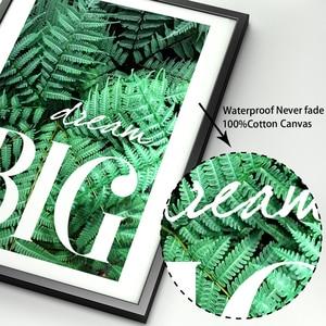 Image 4 - الأخضر نبات السرخس يترك الهندسة يقتبس الرسم على لوحات القماش الجدارية الشمال الملصقات والمطبوعات جدار صور لغرفة المعيشة ديكور