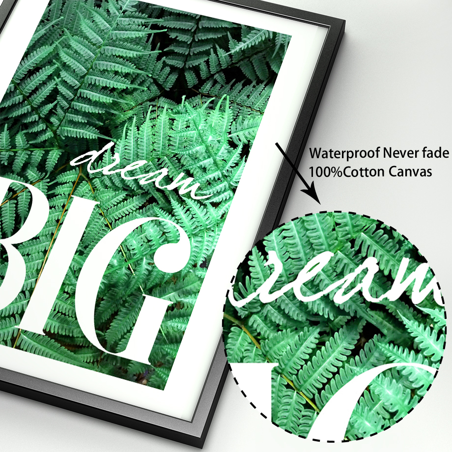 Image 4 - Green Plant Fern Leaves Geometry Quotes Wall Art Canvas Painting Nordic Posters And Prints Wall Pictures For Living Room Decor-in Painting & Calligraphy from Home & Garden