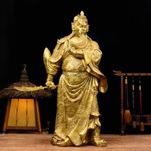 "19"" brass folk enshrine and worship buddha hold sword dragon Guan Gong statue"