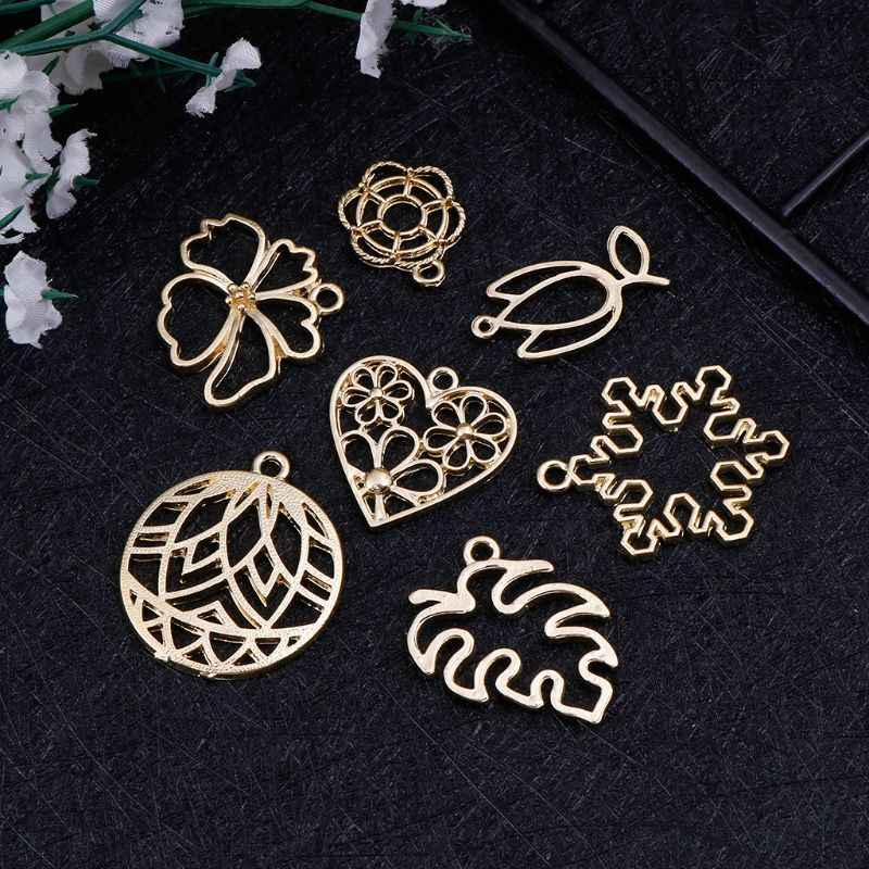7 Pcs Crystal Epoxy Resin Crafts UV Resin Glue Frames Exquisite Floral Leaf Decoration Jewelry Making DIY Pendant