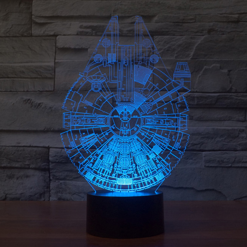 Star Wars Millennium Falcon 3D table lamp,acrylic Carving art 3D illusion night lights colorful gradient Holiday atmosphere lamp