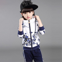 Spring 2019 Children Girls Clothing Suit Tracksuit for Girls Set Floral Girl Sports Clothes Casual Print hooded Jacket + Pants