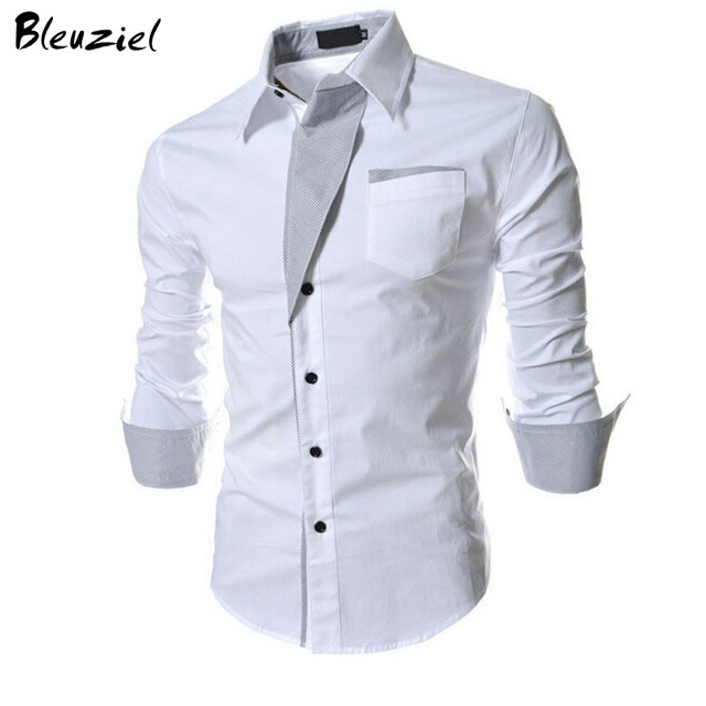 2016 New Casual Shirts Long-Sleeved Men Shirt Business Casual Slim Fit Male Shirt Clothes chemise homme Size M--XXXL