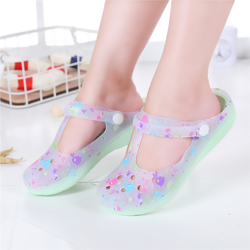 Candy Color Large Size Thick Sandals Woman Croc Anti Skid Hole Jelly Rose  Flower Shoes Flat Garden Beach Slides Shoes-in Women s Sandals from Shoes  on ... 6287310be700