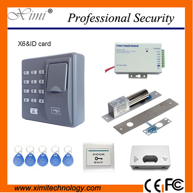 Hot selling standalone fingerprint access control system X6 +power supply+magnetic lock+metal exit button+bracket