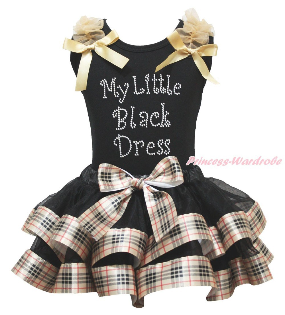 ФОТО My Little Black Dress Black Top Check Plaid Satin Trim Skirt Girls Outfit NB-8Y MAPSA0877
