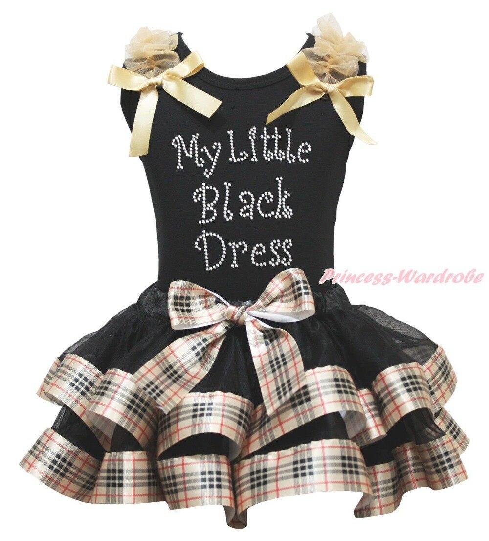 My Little Black Dress Black Top Check Plaid Satin Trim Skirt Girls Outfit NB-8Y MAPSA0877 split front wales check skirt