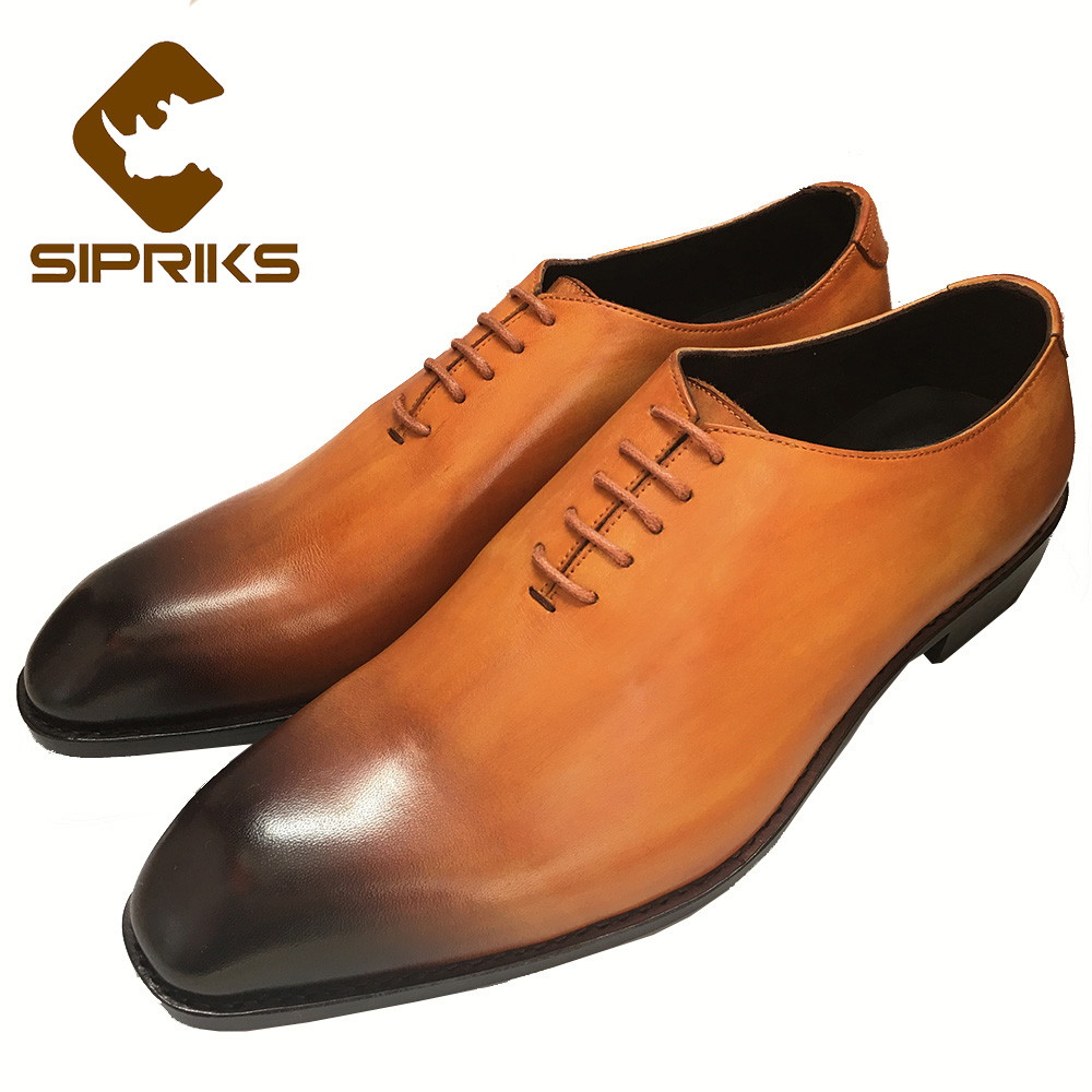 Sipriks Italian Bespoke Goodyear Oxfords Shoes Mens Formal Shoes Patina Leather Grooms Wedding Shoes Business Boss Leather Shoes цена
