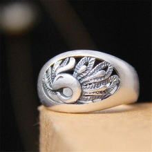 Punk Phonix 990 Sterling Silver Ring Good Luck Romantic S990 Thai Silver Hollow Peacock Rings for Women Men Jewelry Open size цена 2017