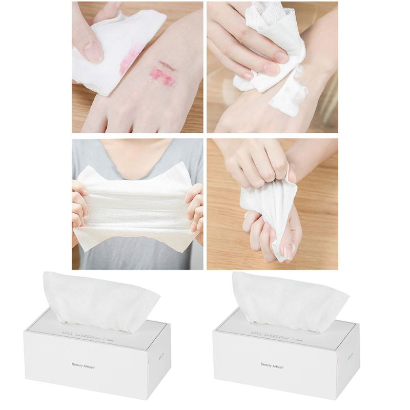100Pcs/Box Disposable Non-Woven Towel Washing Face Pads Net Weave Removable Tissue Cosmetic Makeup Tool Wet And Dry Cloth