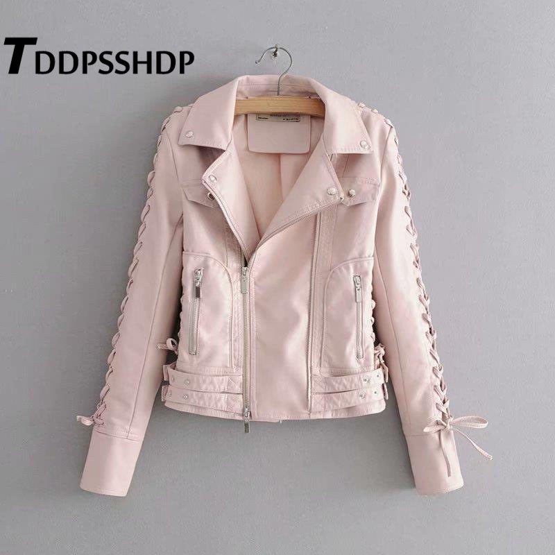 Pink and Burgundy Women Pu Jacket Sleeve with Strap Lapel Spring Zipper   Leather   Coat