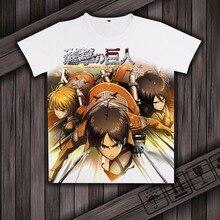 Anime ataque em titan levi ackerman cosplay traje personagem impressão t-shirt de seda leite camisa de mangas curtas top