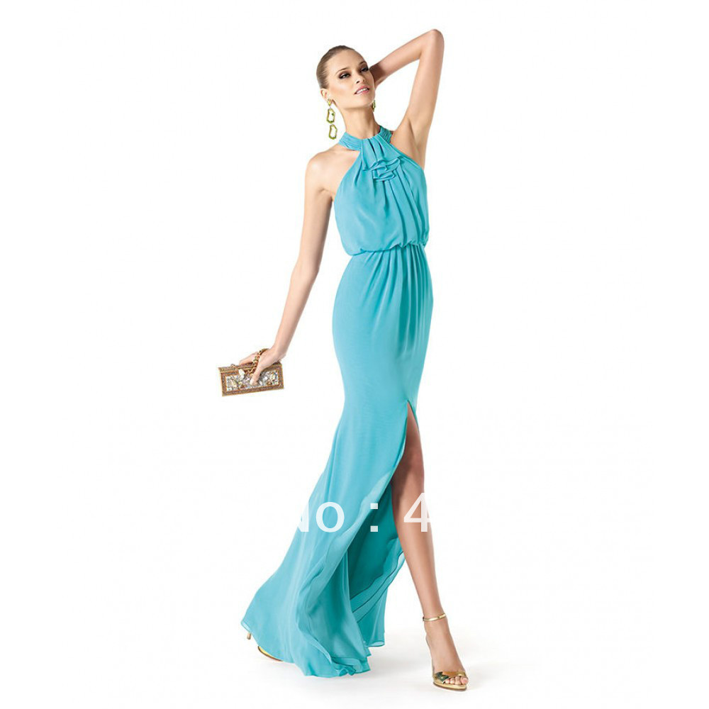Asymmetrical Draped Split Front Chiffon Long Turquoise Cocktail ...