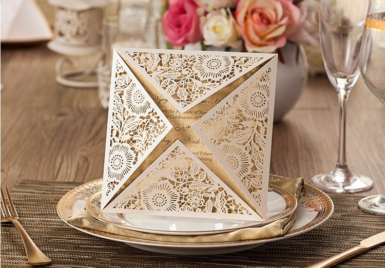Aliexpress.com : Buy Hot Sales White Wedding Invitations+Brown Insert  Card+Envelope+free Printing Laser Cut Flower Card Invitations For Party  From Reliable ...