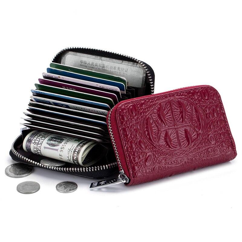 Card Holder Cow Leather Women Credit Card Holder Red Blue Pink Black Purple Coffee Zipper Lady Bag Female Wallet Card Case Bag 1