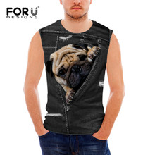 FORUDESIGNS 3D Black Denim Pocket Men's Tank Tops Comfort O-neck Tee Shirts for Male Animal Cat Dog Pattern Men Tops Sleeveless