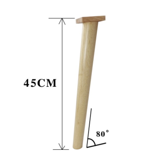 4Pieces H:45CM  Diameter:3.5-5cm Rubber Wood Oblique 80-degree Sofa Table Legs Feet